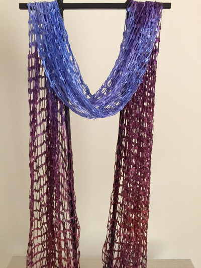 Open Weave Silk Scarf, Siberian Iris
