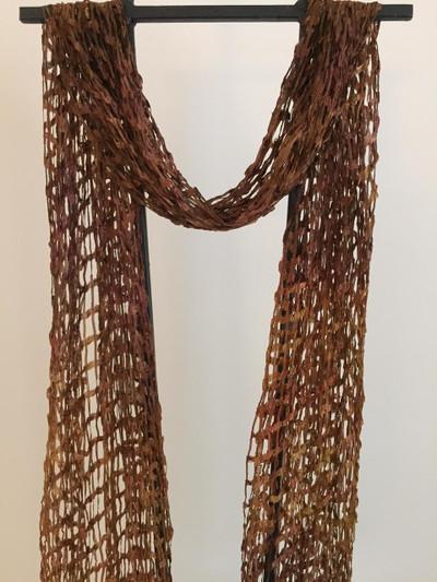 Open Weave Silk Scarf,  Mocha Delight