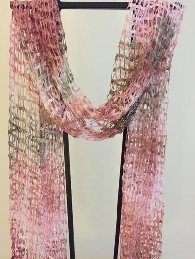 """""""La Vie en Rose"""" Open Weave Silk Scarf"""