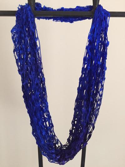 Open Weave  Scarf Necklace, Cobalt Fusion