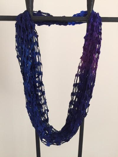 Open Weave Scarf Necklace,  Twinkle Night