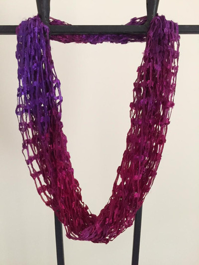 Open Weave Scarf Necklace,  Raspberry Jam