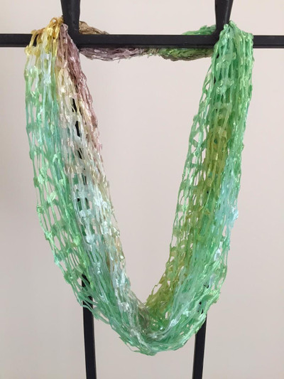 Open Weave Scarf Necklace,  Spring Leaves