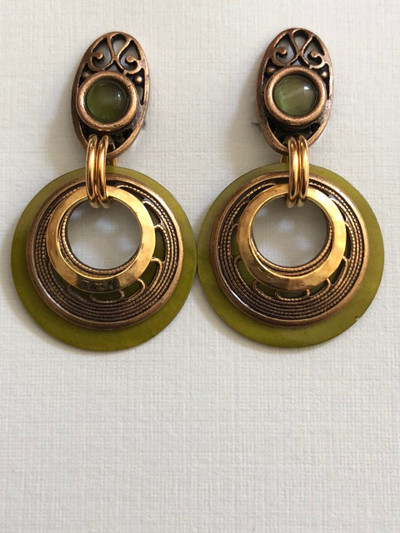 Filigree Moons, Clip on Earrings, Matte Gold, Green