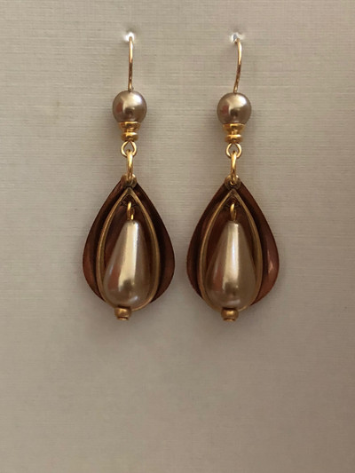 Oval Ideas - French Hook Earrings, Two Tone-Copper/Pearl