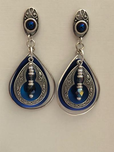 Monsoon Blooms - Post Earrings, Matte Silver - Blue