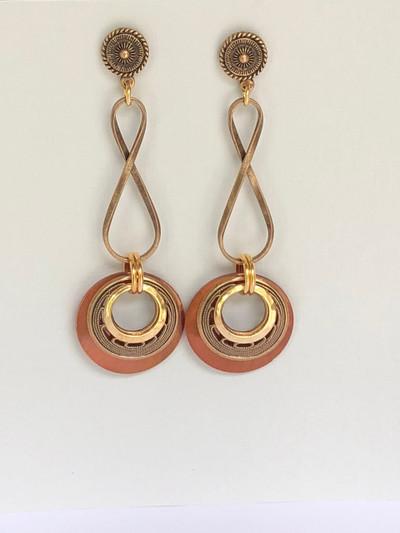 Endless Eons - Post Earrings, Matte Gold- Brown