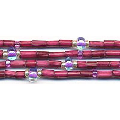 handmade single strand zulugrass african bead jewelry in very berry