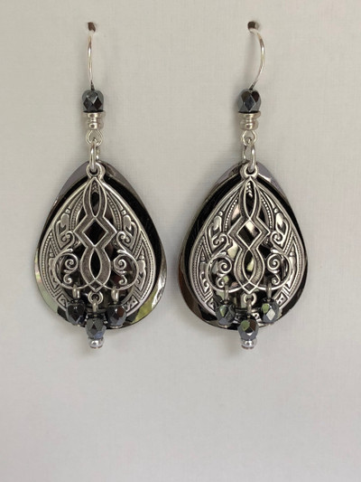 Chamber Chimes- French Hook Earrings, Matte Silver, Hematite