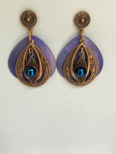 Vishnu Visions- Post Earrings, Matte Gold, Periwinkle