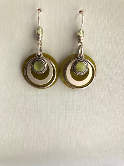 Aura Rounds- French Hook Earrings, Matte Silver, Green