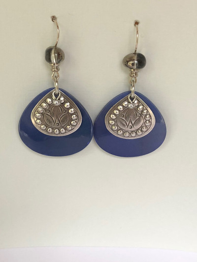 Figgy Drops - French Hook Matte Silver - Blue