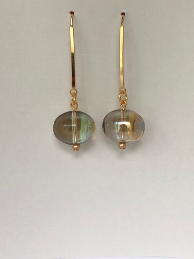 Jelly Drops - French Hook, Matte Gold - Topaz