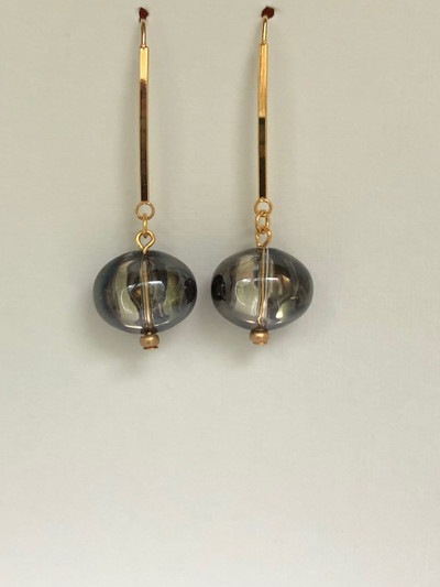 Jelly Drops - French Hook, Matte Gold - Black