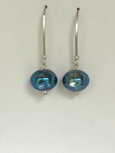 Jelly Drops - French Hook, Matte Silver - Blue