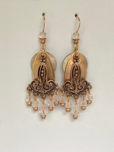 Foreign Fancies- French Hook, Matte Gold - Crystal
