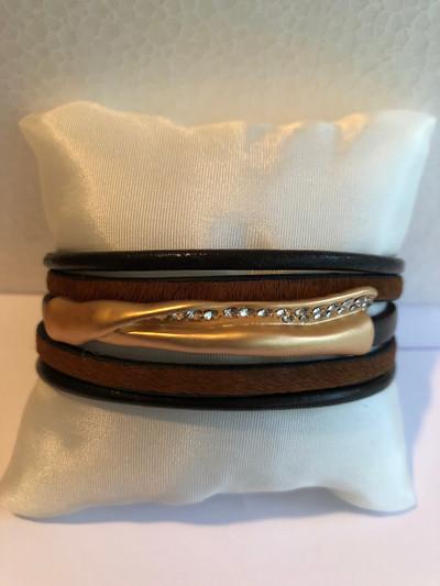 Antigone Bracelet, Matte Gold - Brown
