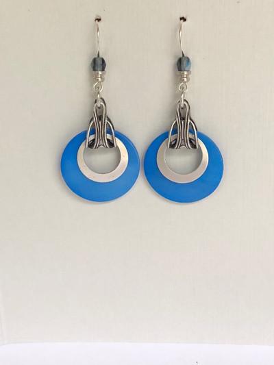 Harmony Hoops- French Hook Earrings, Matte Silver -  Medium Blue