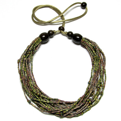handmade zulugrass african bead necklace in lady sunbird