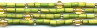 "26"" Handmade African Bead Jewelry Strand in Honeydew"