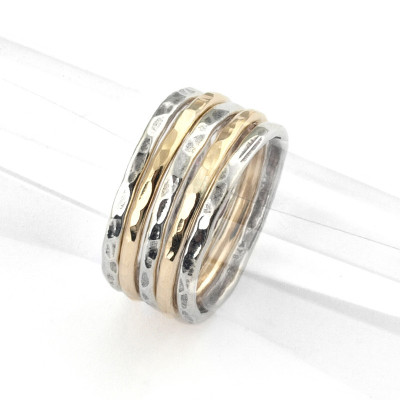 Silver and Gold-Filled Stack Ring (set of 5 stackable bands)