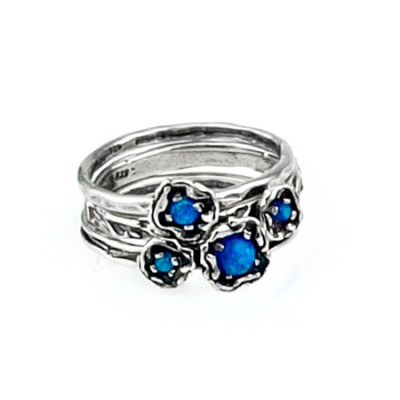 3 Silver Rings Stackable Set With Opal