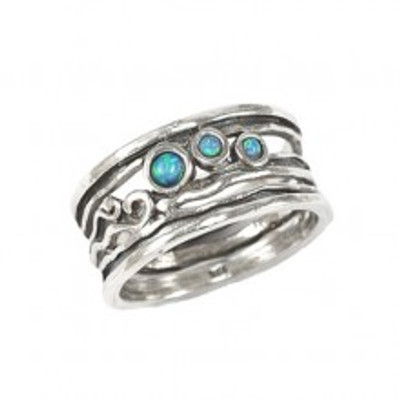 Silver Ring with Opals, 3 mm, 2 mm