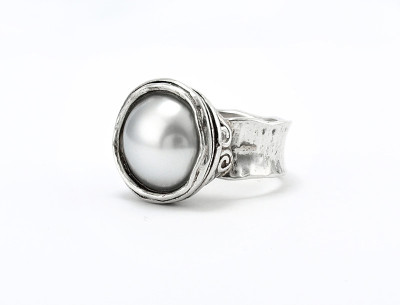 Silver Ring with Pearl, 14mm
