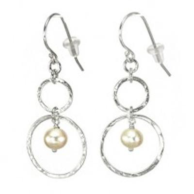 Silver earrings with pearls, 6 mm. Hoops diameters: 18 mm, 9 mm.