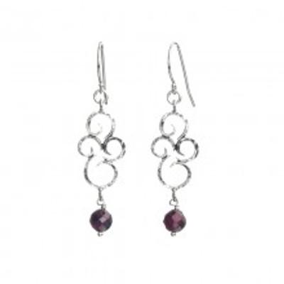 Silver Earrings with Garnet, 6 mm. Height:  33 mm. Width:  13 mm.