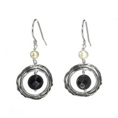 Silver Earrings with Onyx and Pearls, Onyx 8 mm/ Pearl  5 mm