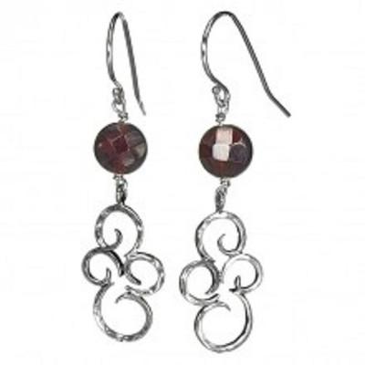 Silver Earrings with Garnet, 8 mm