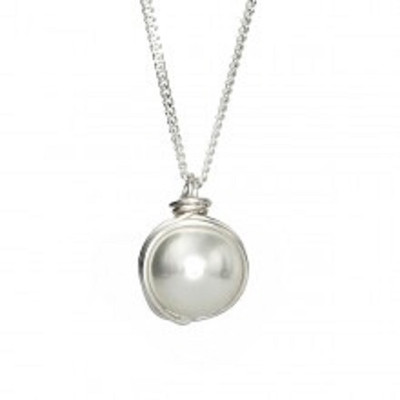 Silver Necklace with Pearl, 12 mm. Clasp:     Spring, 6 mm. Chain:     925 Sterling Silver, 18 inches