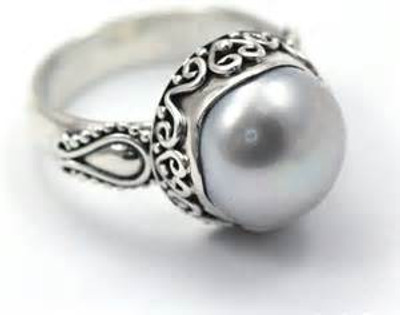 Sterling Silver Bali Pearl Ring
