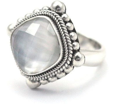 Sterling Silver Faceted Quartz Mother of Pearl Ring