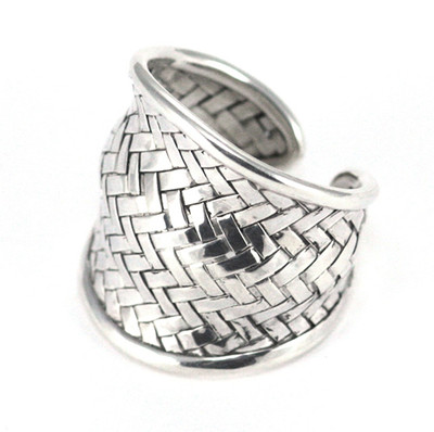 "Sterling Silver ""Weave"" Pattern Ring"