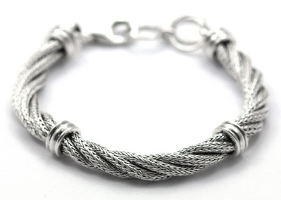 "Sterling Silver ""Twisted Cable"" Bracelet"