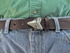 White bronze sharks tooth with black patina and satin finish for 1 1/4 belts