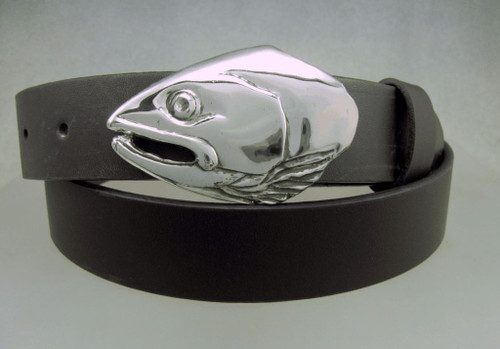 Salmon fish portrate buckle in sterling on a 1.25 belt sold seperately