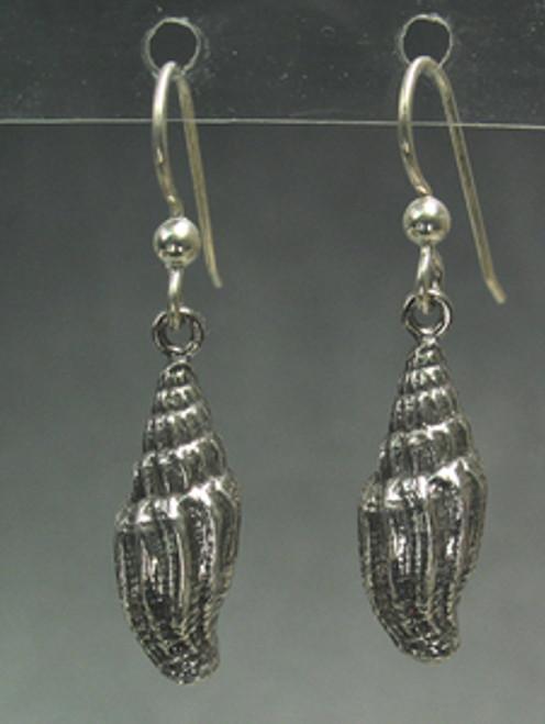 Miter Sea Shell Drop Dangle Beachomber Earrings in Sterling Silver