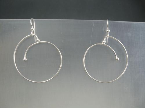 Sliding Spiral Crashing Waves Hoop Earrings with 40mm in Sterling Silver