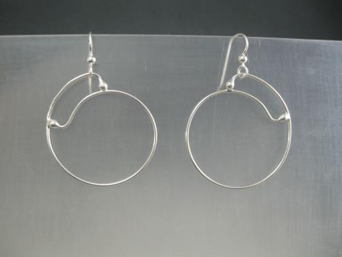 Closed top 40mm Crashing Waves Spiral  Hoop Earrings in Sterling Silver