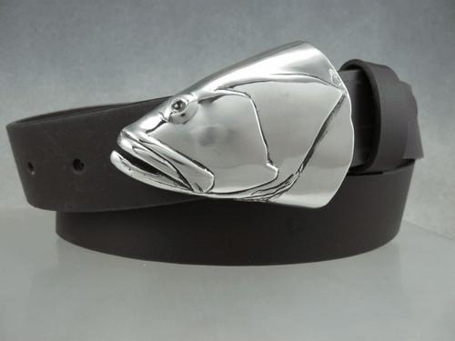 "Grouper fish portrait in silver shown on 1.25"" belt Also fits 1.5 "" belt. sold separately  Shown on 1 1/4 belt"