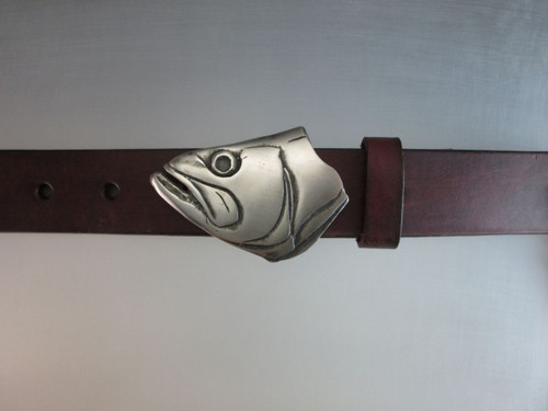 Bass Fish Belt Buckle in White bronze. shown on brown strap belt with black patina and satin finish