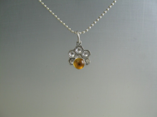 Honey comb pendant in sterling silver with a 8 mm citrine stone,  on a 16 inch bead chain sold separately
