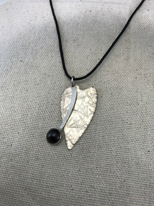 Deep Red Garnet and Abstract Textured Sterling Silver Heart Pendant Necklace