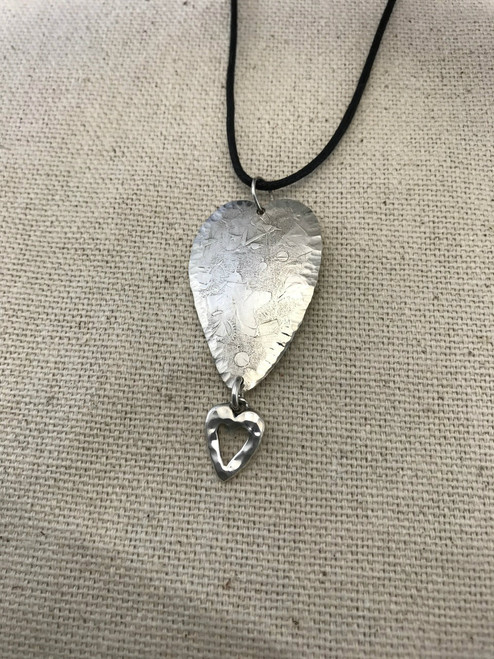 Stacked Hearts Sterling Silver Pendant
