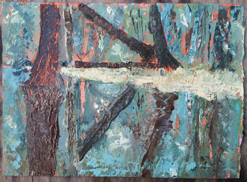 Johnson Springs at Blue Springs Original Palette Knife Acrylic on 5 x 7 watercolor Paper matted to 8 x 10