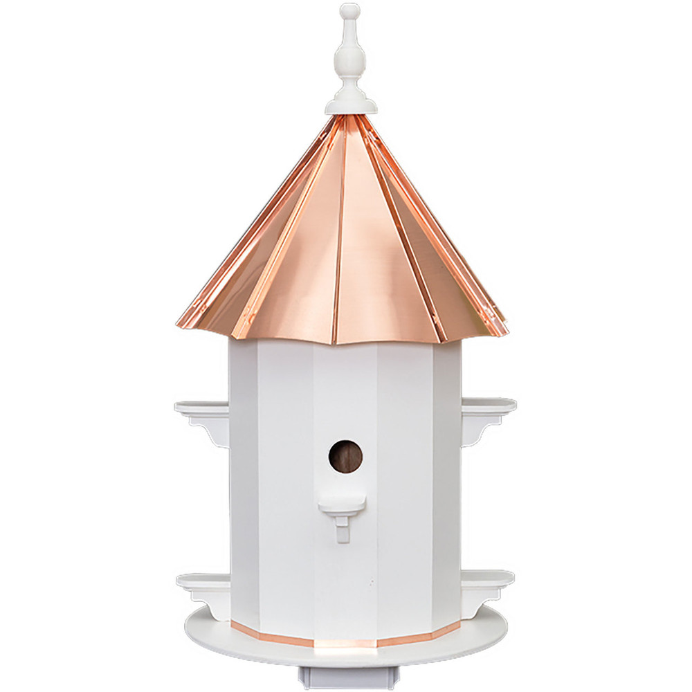 Amish 30ʺ Copper Top 6-Hole Poly Birdhouse