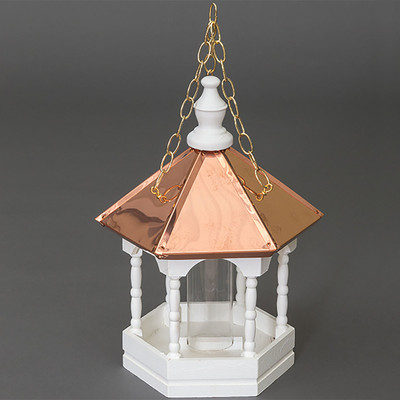 Amish 22ʺ Copper Top Hanging Spindled Bird Feeder